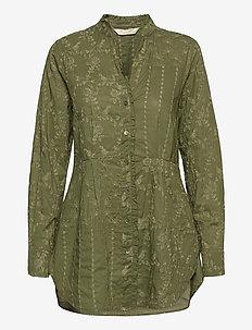 Vivian Shirt - blouses med lange mouwen - dark olive