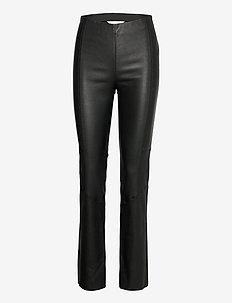 Victoria Leather Pants - pantalons en cuir - almost black