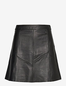 Victoria Leather Skirt - korte nederdele - almost black