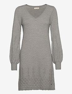 Simone Dress - strikkjoler - grey melange