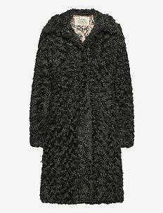 Amandine Long Jacket - fake fur - green asphalt