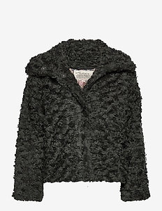 Amandine Jacket - fake fur - green asphalt