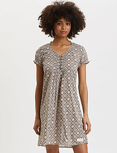 Perfect Print Short Dress - korta klänningar - asphalt