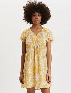 Perfect Print Short Dress - korta klänningar - vintage yellow