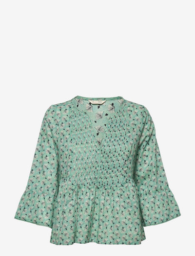 Becky Blouse - langærmede bluser - dusty turquoise