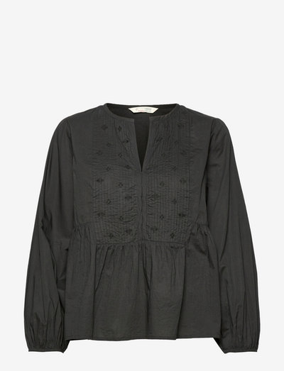 Adette Blouse - long sleeved blouses - deep asphalt
