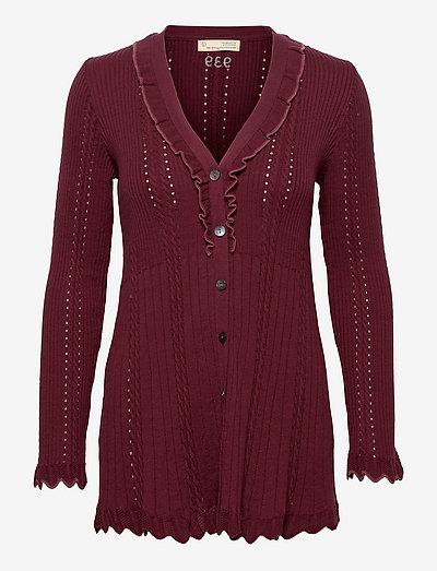 Ezra Long Knitted Cardigan - koftor - dark maple