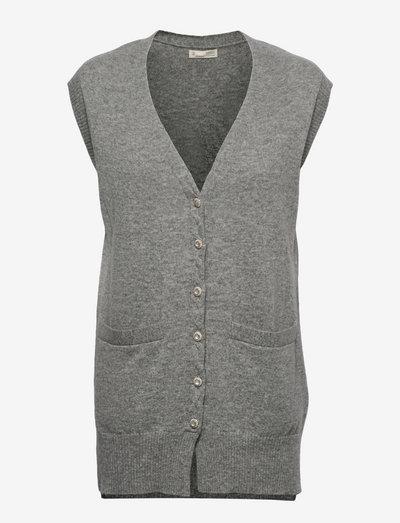 Annie Vest - strikveste - grey melange
