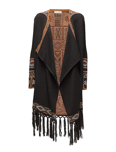 rainbow long cardigan - BROWN
