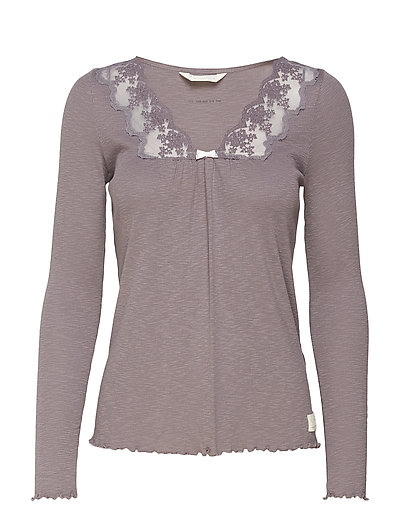 rib-eye l/s top - STORMY GREY