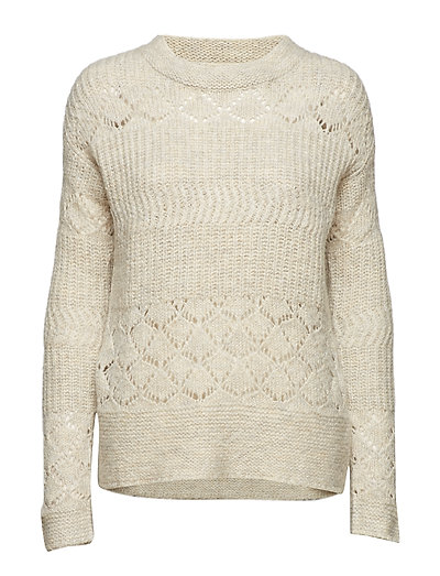 wolly blocks sweater - CHALK