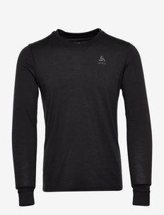 Aluminium Crewneck 100% Merino WARM - hauts à manches longues - black - black