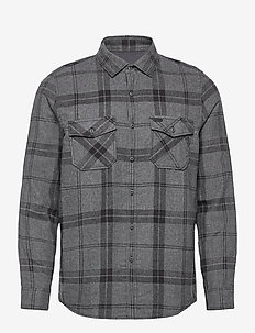 LM CHECK FLANNEL SHIRT - ternede skjorter - grey aop
