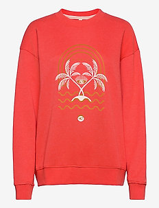 LW CALI GRAPHIC CREW - sweatshirts - hot coral