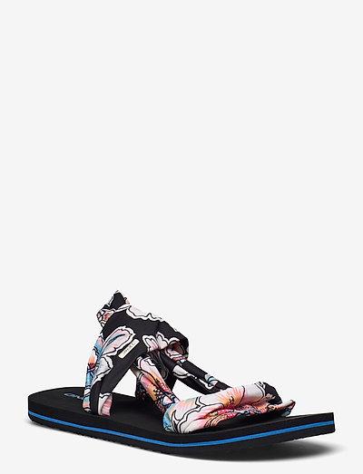 FW DITSY WRAP - flade sandaler - black aop w/ red