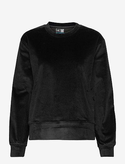 Ribbed Velour Crew Sweat - bluzy i swetry - blackout - a
