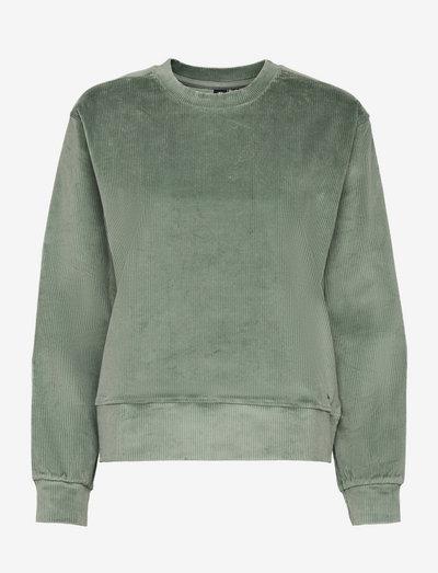 Ribbed Velour Crew Sweat - bluzy i swetry - lily pad