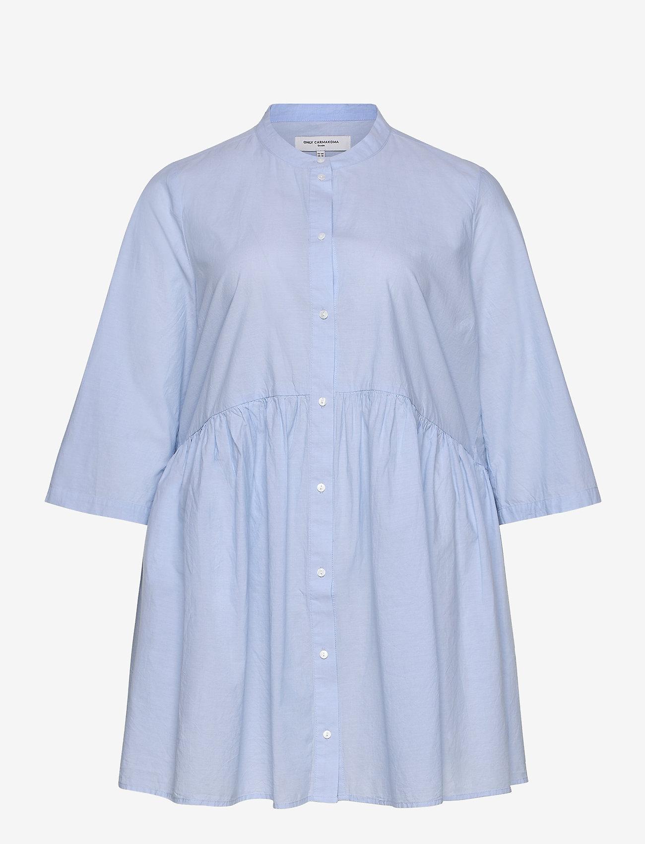 ONLY Carmakoma - CARCHICAGO LIFE 2/4 DNM TUNIC DRESS - long sleeved blouses - light blue denim