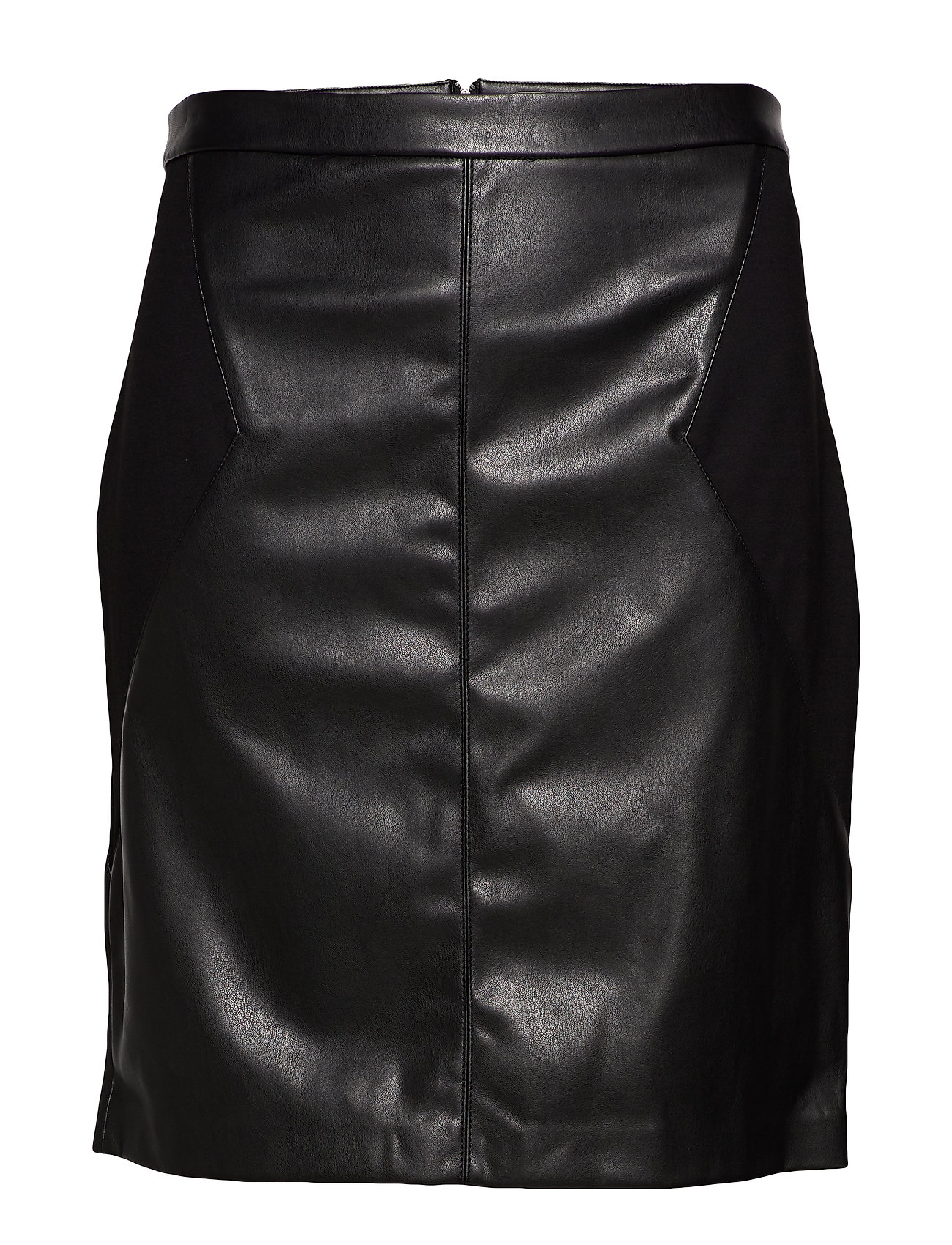 Image of Carbea Faux Leather Mix Pencil Skirt Kort Nederdel Sort ONLY Carmakoma (3264524881)