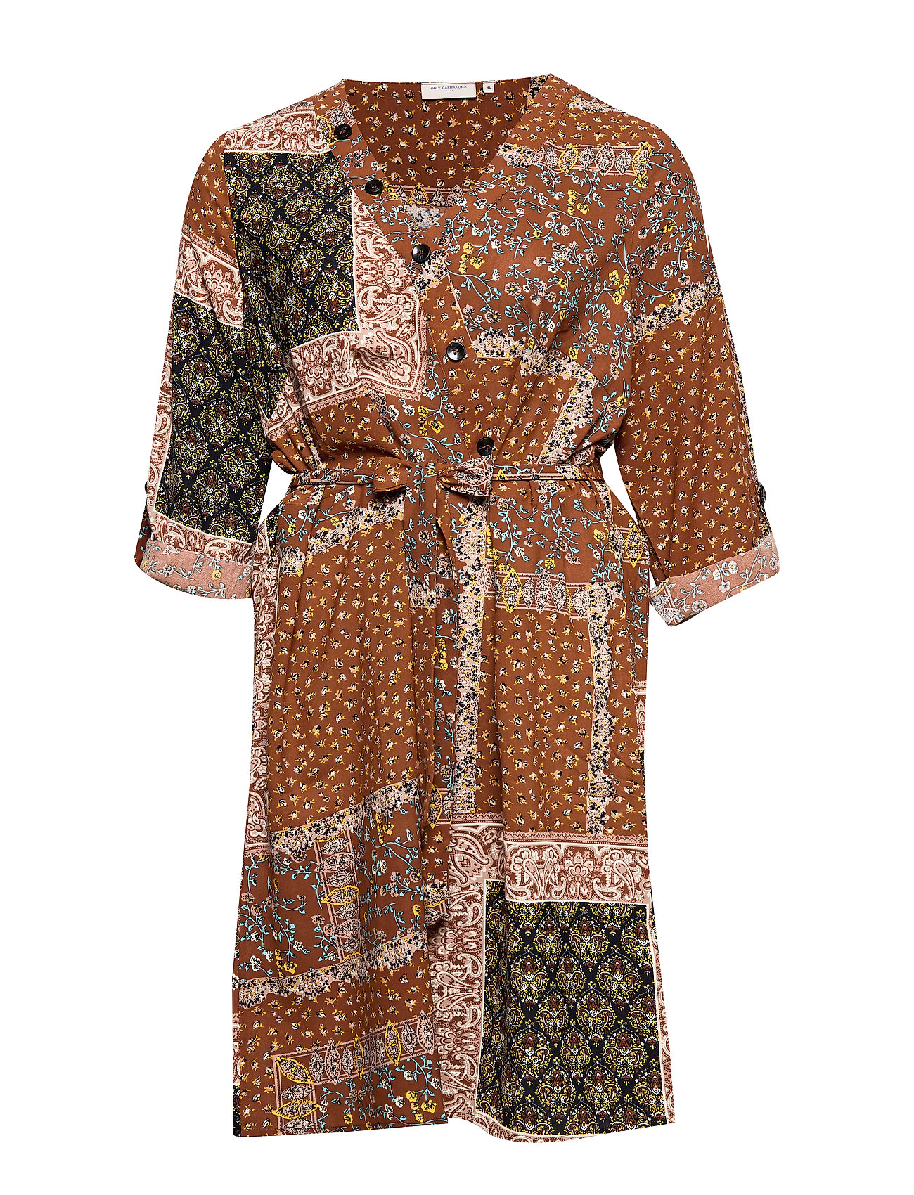 ONLY Carmakoma CARFLOWERSCARF LS KNEE DRESS - GINGER BREAD