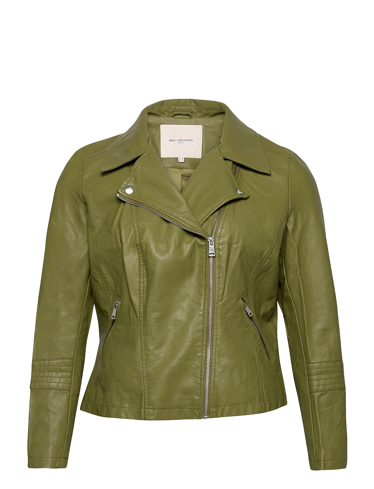 Image of Caremmy Faux Leather Biker Ess Læderjakke Skindjakke Grøn ONLY Carmakoma (3488472009)