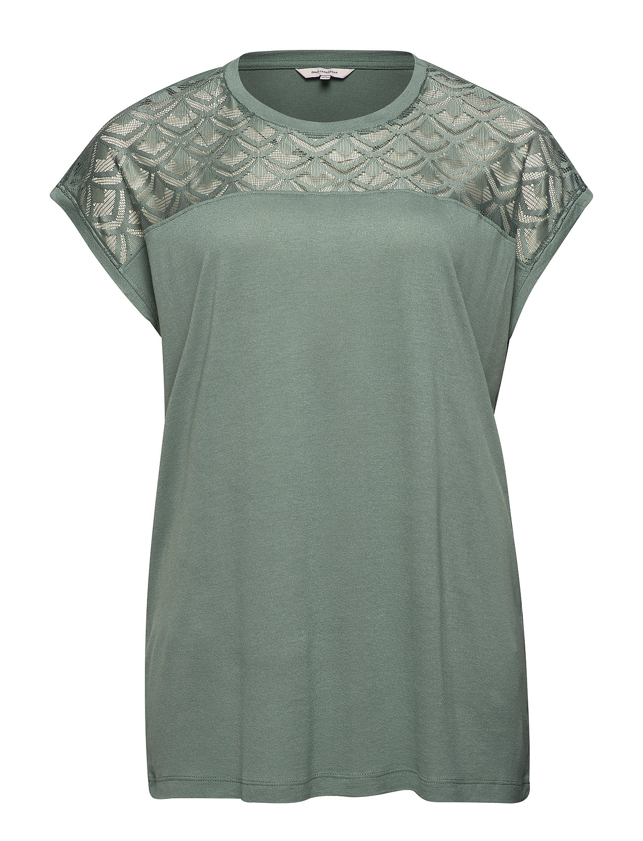 ONLY Carmakoma CARFLAKE S/S MIX TOP NOOS - CHINOIS GREEN