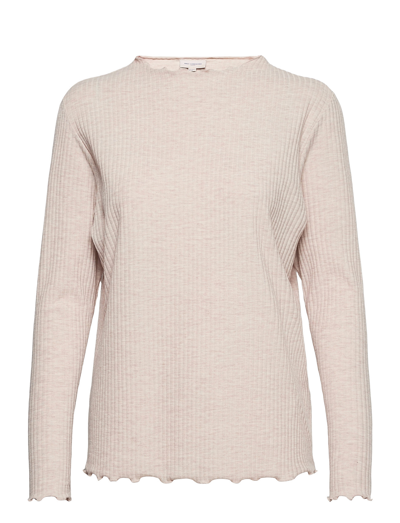 Image of Carally Ls High Neck Top Ess Langærmet T-shirt Hvid ONLY Carmakoma (3470938735)