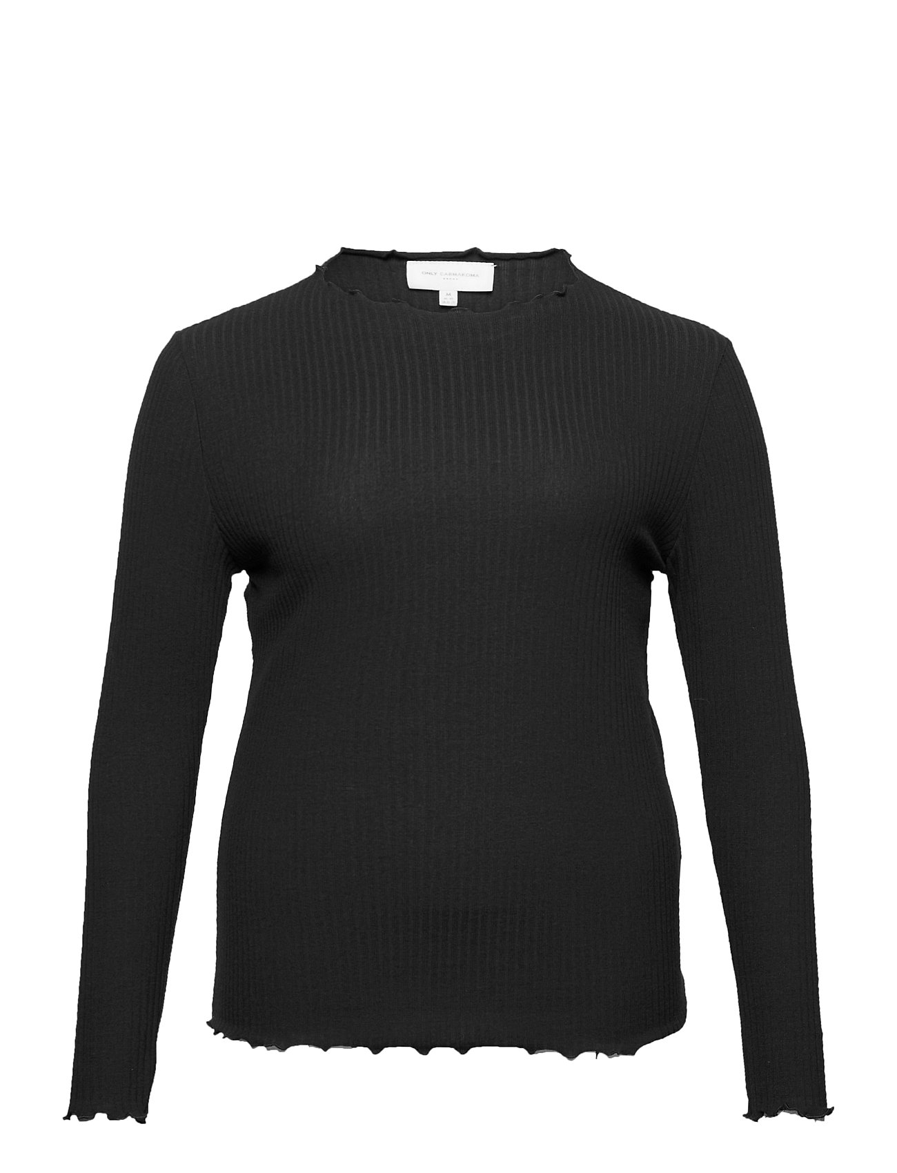 Image of Carally Ls High Neck Top Ess Langærmet T-shirt Sort ONLY Carmakoma (3456992669)