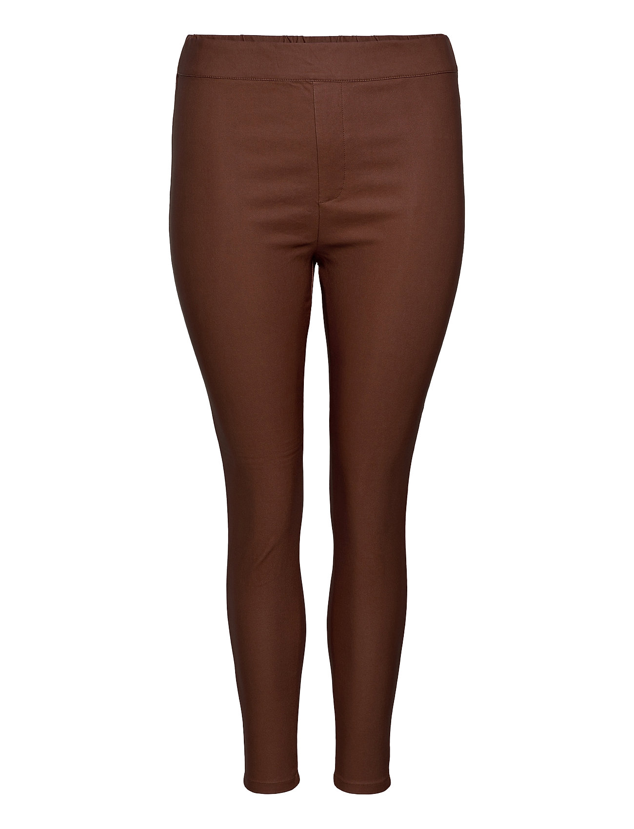 Image of Carargain Coated Pant Slimfit Bukser Brun ONLY Carmakoma (3453534025)