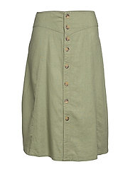CARPALM HW LINEN MIX BUTTON SKIRT - OIL GREEN