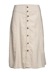 CARPALM HW LINEN MIX BUTTON SKIRT - PUMICE STONE