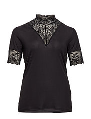 CARLACE HIGHNECK  SS TOP ESS - BLACK
