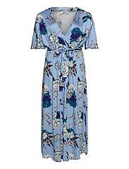 CARFLONE 2/4 BAT SLEEVE MAXI  DRESS - PLACID BLUE
