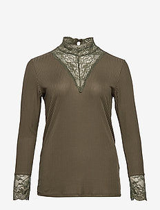 CARLACE HIGHNECK L/S TOP ESS - FOREST NIGHT