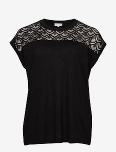 CARFLAKE S/S MIX TOP ESS - t-shirts - black