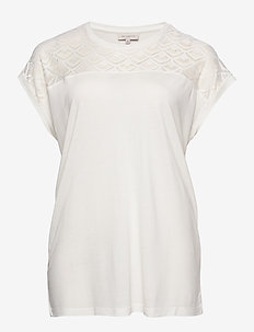 CARFLAKE S/S MIX TOP ESS - t-shirts - cloud dancer