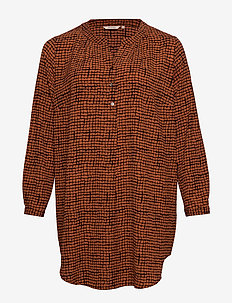CARLUXANNA LS TUNIC AOP - GINGER BREAD
