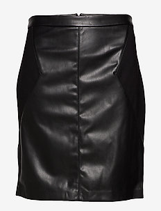 CARBEA FAUX LEATHER MIX PENCIL SKIRT - BLACK