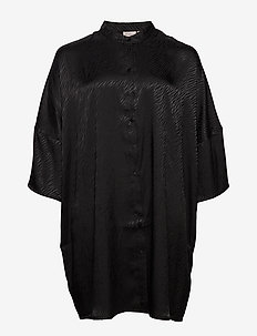 CARLEONORA 3/4 SL TUNIC SHIRT DRESS - BLACK