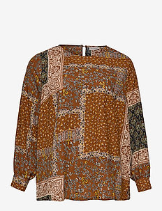 CARFLOWERSCARF LS BLOUSE - GINGER BREAD