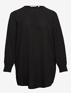 CARLUXANNA LS BLOUSE SOLID - BLACK