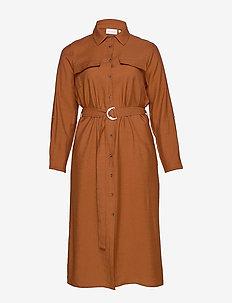 CARWANDA LS CALF SHIRT DRESS - paitamekot - brown patina