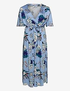 CARFLONE 2/4 BAT SLEEVE MAXI  DRESS - do kolan & midi sukienki - placid blue