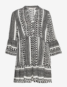 CARMARRAKESH 3/4 TUNIC DRESS AOP - BLACK