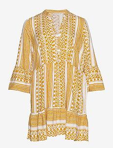 CARMARRAKESH 3/4 TUNIC DRESS AOP - GOLDEN SPICE
