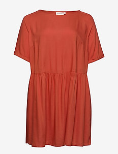 CARBLOOM LIFE 2/4 TUNIC DRESS SOLID - HOT SAUCE