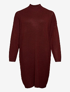 CARPRIMEUS TUNNEL NECK  TUNIC DRESS  KNT - knitted dresses - fired brick
