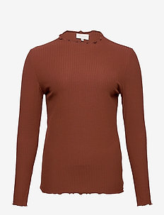 CARALLY LS HIGH NECK TOP ESS - langermede topper - cherry mahogany