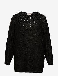 CARINDIA LIFE O NECK LS LONG TOP - strikkede topper & t-skjorter - dark grey melange