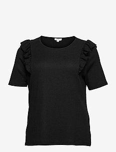 CARJANET 2/4 FRILL TOP - short-sleeved blouses - black